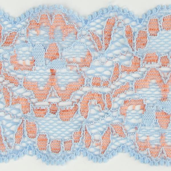 Spitzenband elastisch in hellblau apricot