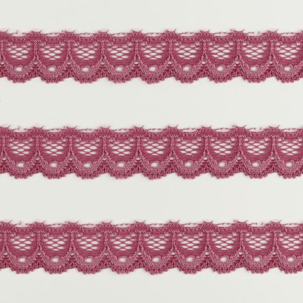 Spitzenband schmal elastisch in dunkelrosa