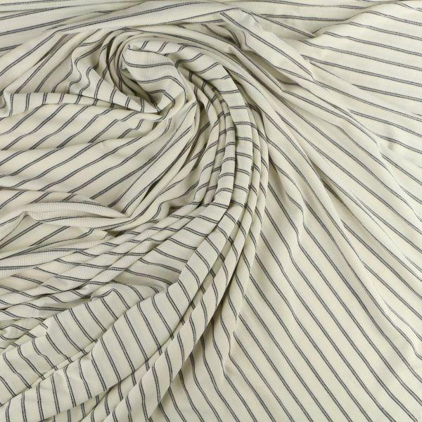 Baumwoll Jersey matt in weiss grau schwarz gestreift
